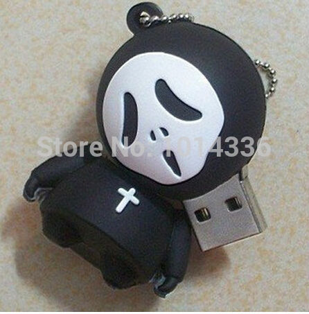 4/8/16/32GB Halloween black ghost cool skull USB Flash Drive Card Memory Stick/Thumb/creative Gift creative Pendrive S15(China (Mainland))