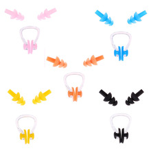 Silicone Swimming Ear Plugs and Nose Clip Combo Set with Case box Waterproof Soft Swimming Set(China (Mainland))
