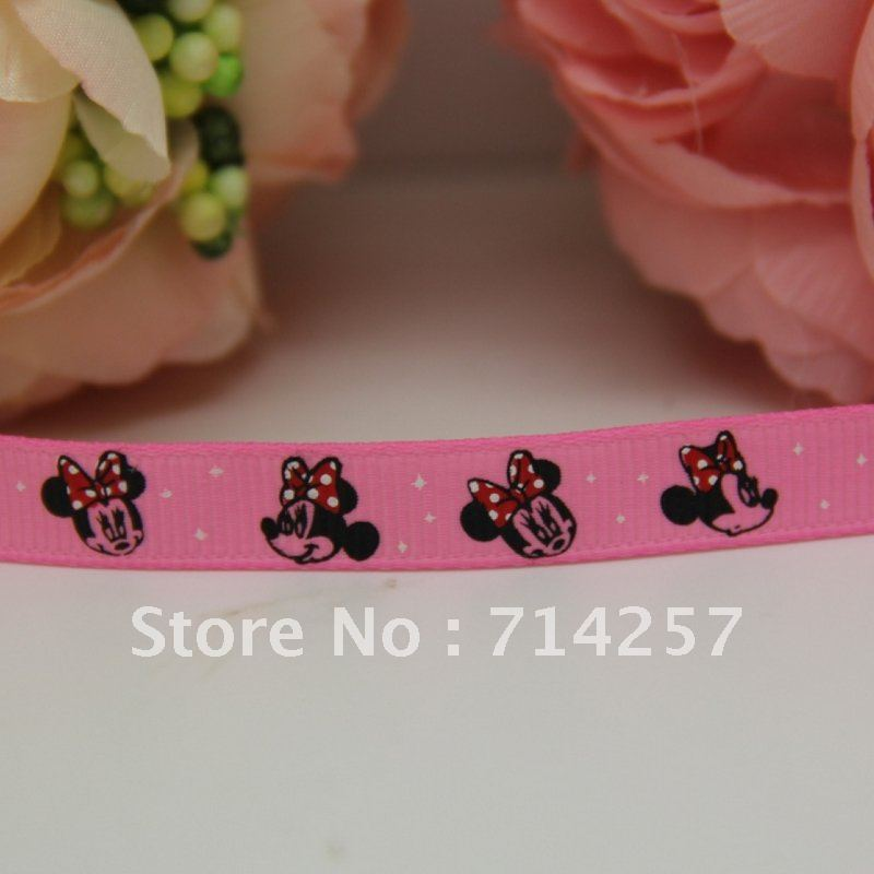 hot 3/8'' new arrival Free shipping 100% polyester cute high quality heat transfer printed grosgrain ribbon micky mouse 9mm P024(China (Mainland))