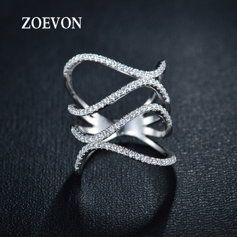 ZOEVON New White Gold Plated Tiny Swiss CZ Paved Fashion Jewelry Double waves Twist Rings for