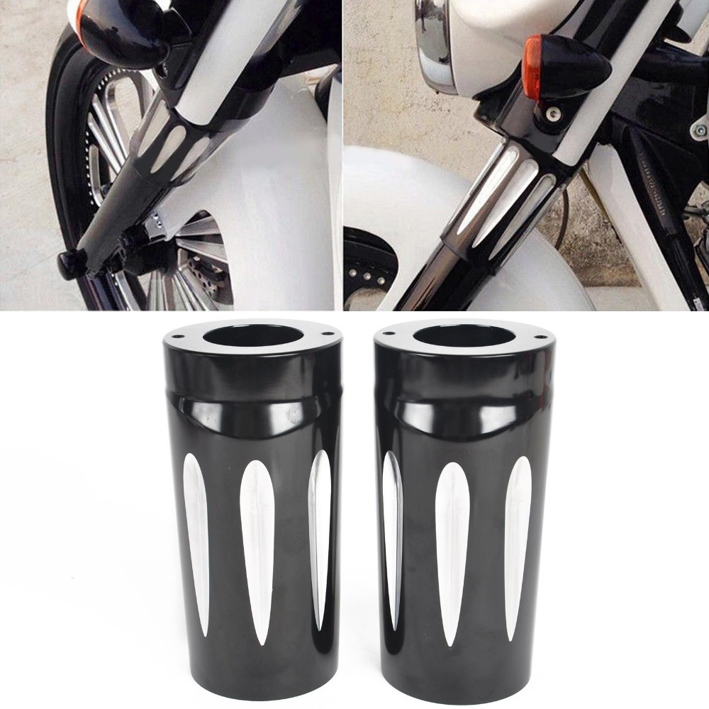 Фотография 1pair Black Motorcycle Deep Cut fits fork Boot Slider Cover fits for fit Harley Davidson