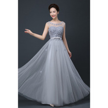 2016 Cheap Plus Size Fairy Long Bridesmaid Dresses Scoop Off the Shoulder Pretty Women Formal Wedding Party Prom Gown Dress Grey(China (Mainland))