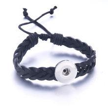 31 kolorów skórzana bransoletka Snap 18mm przystawki biżuteria ręcznie plecione skórzane bransoletki Fit zatrzaski biżuteria przycisk bransoletka(China)