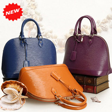 2016 High Quality Women Tote Fashion Ripples Pattern Black Genuine Leather Designer Handbag, Shell Shape Messenger Bag, Q0303L