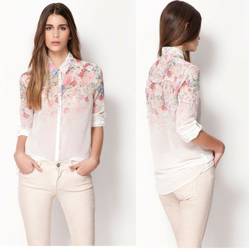 New 2014 Fashion Shirt Women Body Causal Long Sleeve Chiffon Blouses Turn Down Collar Flower Print Summer Blouse Free Shipping(China (Mainland))