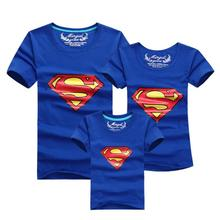 Superman Family Matching Outfits T-shirt Clothes For Dad Mon Daughter and Son 2015 Summer Father and Son Suits Top Clothing(China (Mainland))