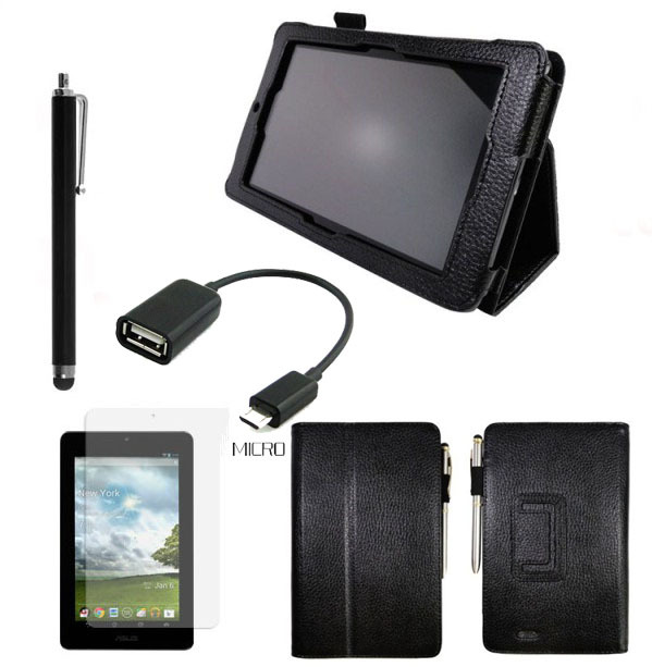 4in1 Kit For Asus MeMO Pad ME172V Magnetic Cover Stand PU Leather Case 8 colors + Screen Protector + OTG Cable + Pen(China (Mainland))
