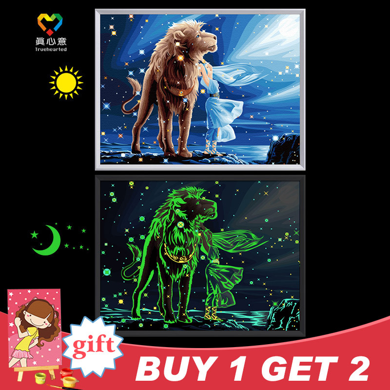 Diy painting number kits Luminous oil wall pictures living room - Zhuhai Truehearted Manual Craft Co., Ltd. store
