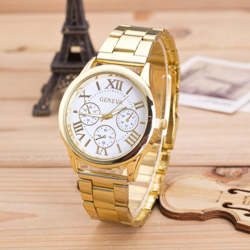 Высокое качество женщин роман-цифры из нержавеющей стали водонепроницаемый кварцевые наручные часы элегантные мода браслет часов SE9