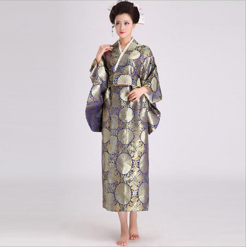 Novelty Japanese Kimono Evening Dress Women Sexy Satin Yukata With Obi Performance Dance Dress Cosplay Costume One Size B-017