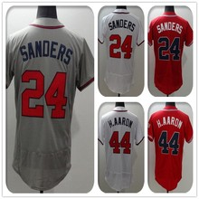 2016 New Fabric Flexbase Version #24 Deion Sanders #44 Hank Aaron Jersey Color Gray Red White Heat-sealed Tagless Jerseys(China (Mainland))