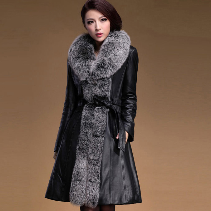 Veste cuir femme avec fourrure