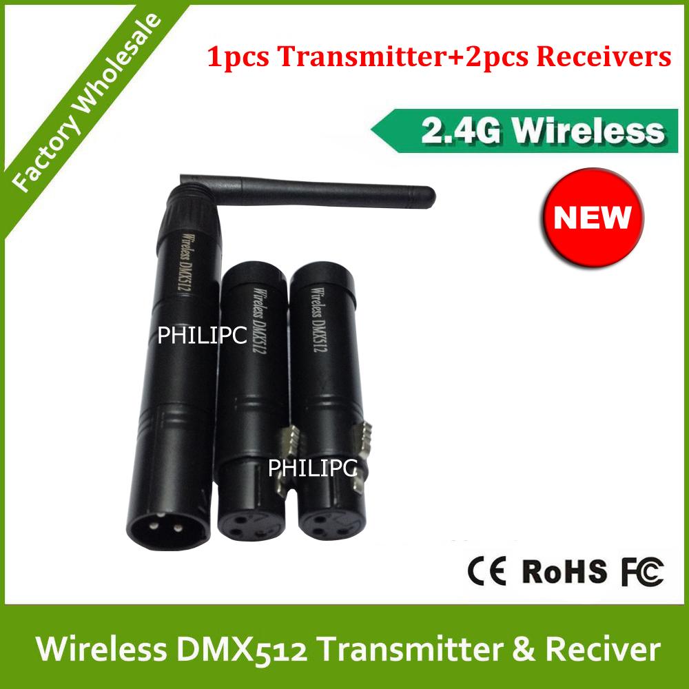 DHL/EMS 2.4G Wirelesswireless dmx512 transmitter &amp; receiver wireless dmx battery power 3PCS<br><br>Aliexpress