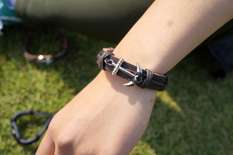 Unisex Pu Leather Rope Bracelet For Men Women Anchors Woven Bracelet Charm Male Bangle Bracelet Chain