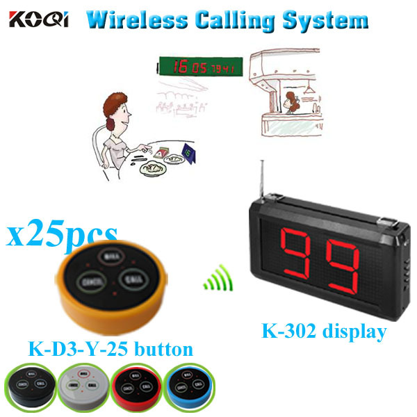 Wireless Restaurant Page Service System with K-302 monitor K- D-3 transmitter button (1 display+25 table bell button)(China (Mainland))