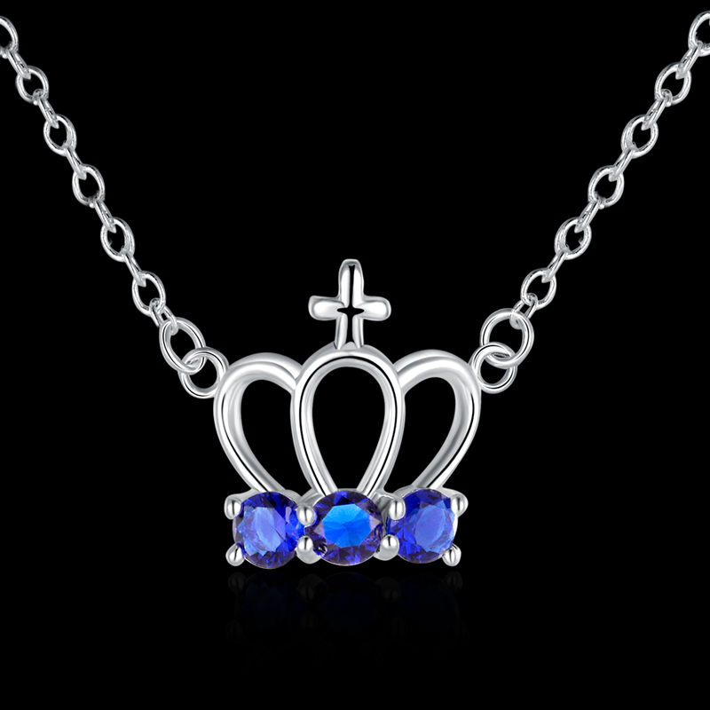 2015 new fashion crown design inlaid colour stones jewlery 925 sterling silver necklace free shipping high