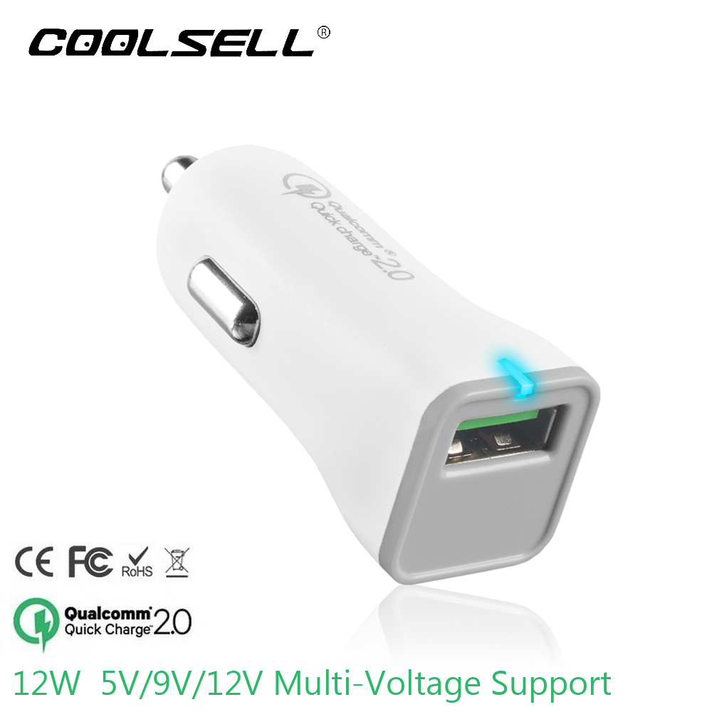 COOLSELL QC 2.0 Car Charger USB Mini Quick Charger for iPhone 5se 6s Samsung S6 S7 Note LG HTC etc Cell Phone Tablet White(China (Mainland))