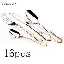 Hot 16pcs dinner knives spoons forks flatware cutlery set stainless steel silverware dinnerware tableware set faqueiro cubiertos(China (Mainland))
