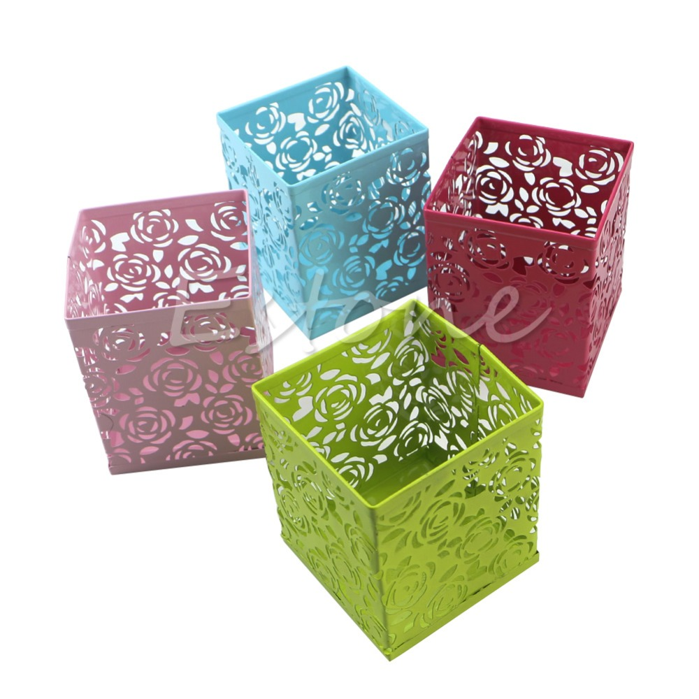 J34 Free Shipping New Hollow Rose Flower Pattern Square Pen Pencil Pot Container Holder Organiser<br><br>Aliexpress