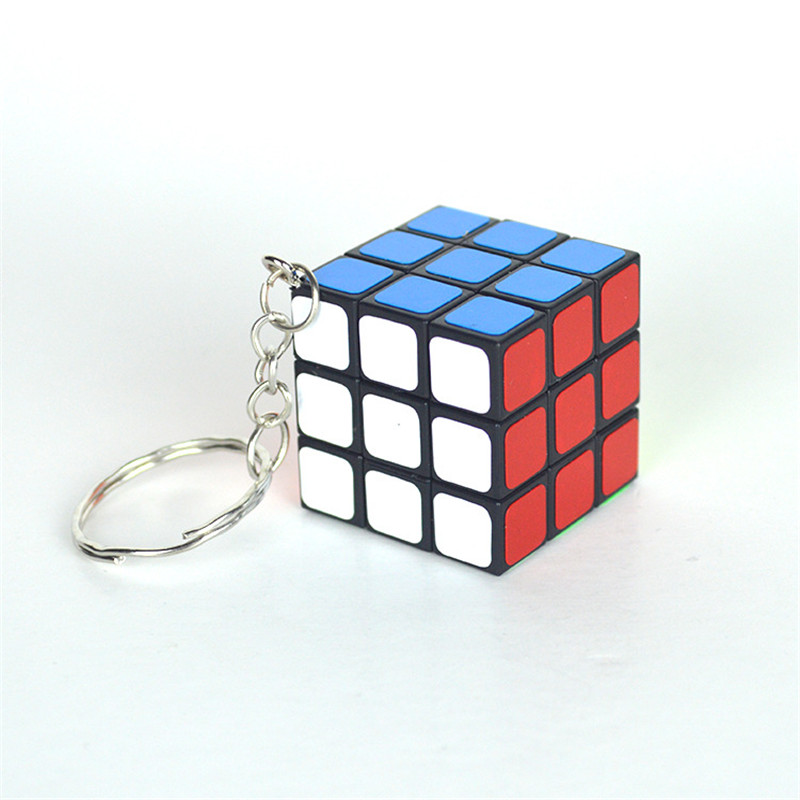 High Quality 3CM Plastic ABS Mini 3x3x3 Magic Cube Puzzle Stickers with Keychain Ring Opp Bag Packakge IQ Toys Gift(China (Mainland))