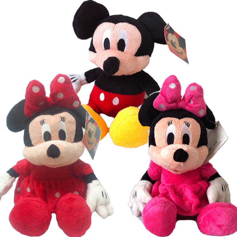 3pc/lot 30cm Mickey Mouse And Minnie Mouse Toys Soft Toy Stuffed Animals Plush stuffed Toy dolls free shipping(China (Mainland))