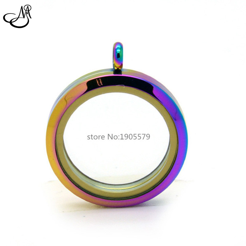 2015 New 30mm Round Rainbow Color Floating Locket Stainless Steel magnetic Memory Photo Lockets Pendant Jewelry SMG126<br><br>Aliexpress