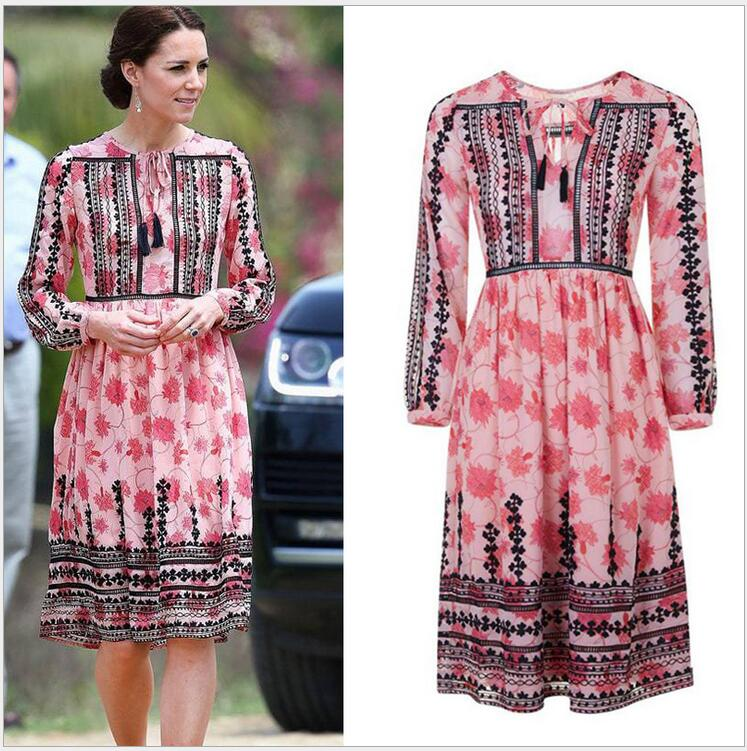 High Quality ! Kate Middleton Same Style 2016 Newest Visit India Summer Dresses Long-Sleeved Print Slim Pleated Dresses(China (Mainland))