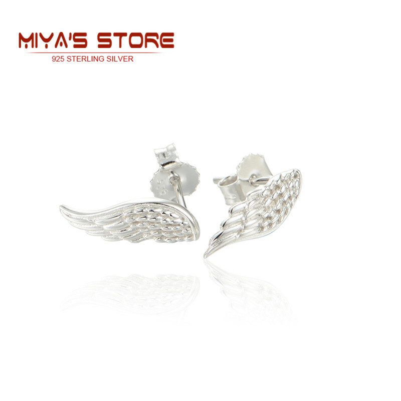 New Arrival Angle Wing Earrings Studs 925 Sterling Silver Jewelry Wholesale Women Silver Angle Wing Earrings Summer Style  Er001<br><br>Aliexpress
