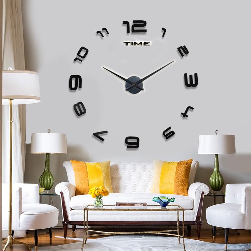 New fashion home decor big mirror 3D DIY wall clock Modern
