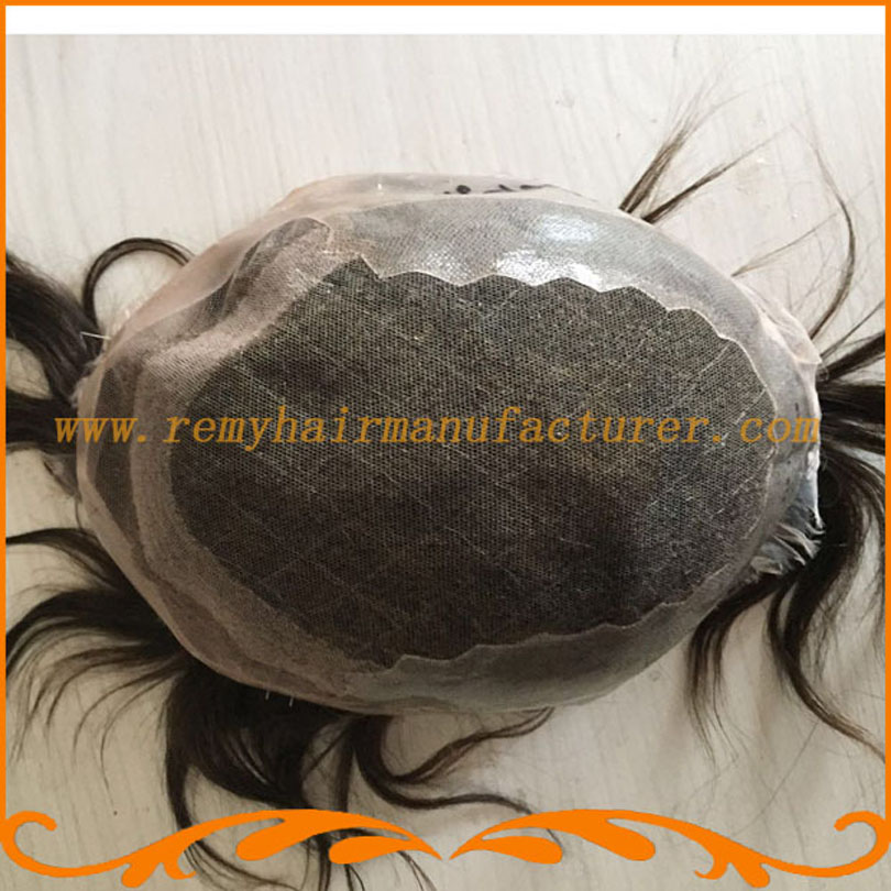 Custom toupee hot sales toupee swiss lace Invisible knots natural looking Indian mens wig hari system free shipping(China (Mainland))