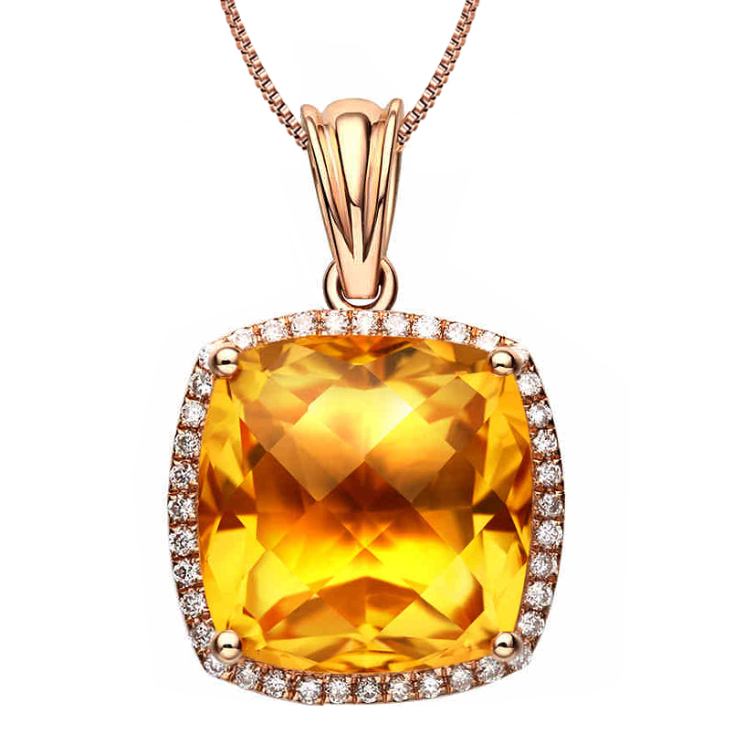 18K Rose Gold Natural Citrine Pendant 4.8ct Women Join To Party Free Shipping Send To Certificate Jewelry Wholesale(China (Mainland))
