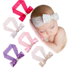 Buy Hot Baby Newborn Infant Headband Rose Hair Band Chiffon Bow Bead Lace Elastic Headbands Children Girls Hair Accessories 5 Colors for $1.38 in AliExpress store