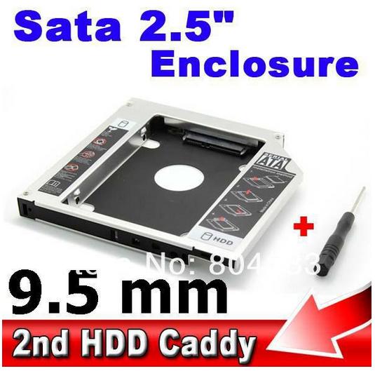 "Universal Aluminum 2.5"" SSD HDD HD Hard Disk Driver External 9.5mm 2nd Caddy SATA 3.0 Case Enclosure ODD CD DVD ROM Optical Bay(China (Mainland))"