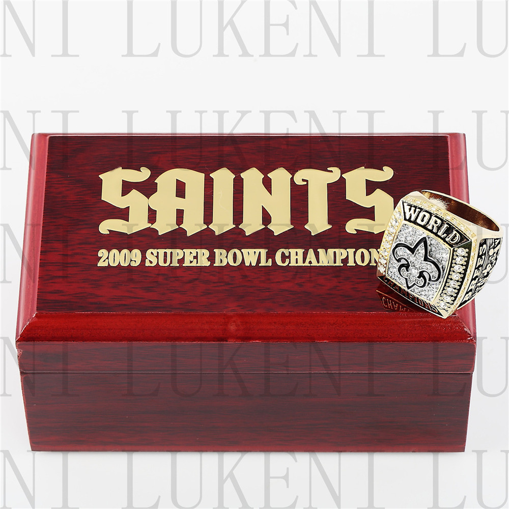 Replica 2009 Super Bowl XLIV New Orleans Saints Championship Ring Football Rings With High Quality Wooden Box Best Gift LUKENI(China (Mainland))