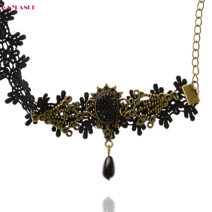 Luck dog New Fashion Women Gothic Black Lace Black Alloy Flower Anklets