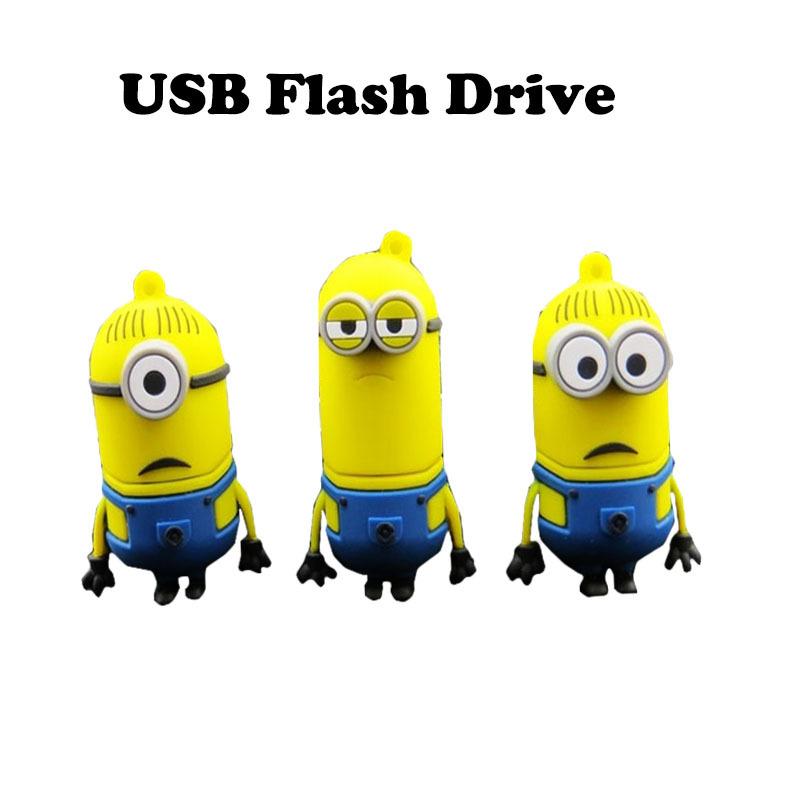 Cute Minions USB Flash Drive 64g Pen Drive 32g 16g 8g 4g Pendrive USB 2.0 Memory Stick U Disk H2testw Test(China (Mainland))