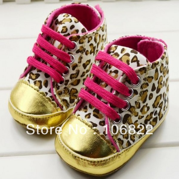 Cute Baby Shoes Girl Infant Toddler Leopard Gold Crib Shoes Walking Sneaker Size 11, 12, 13(China (Mainland))