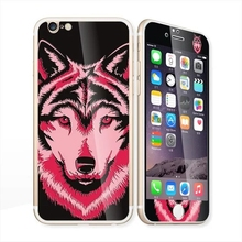 3D Screen Protector+back cover Glow in the dark luminous raised Wolf Tempered Glass film for iPhone 6 case 6S 6 Plus 6splus