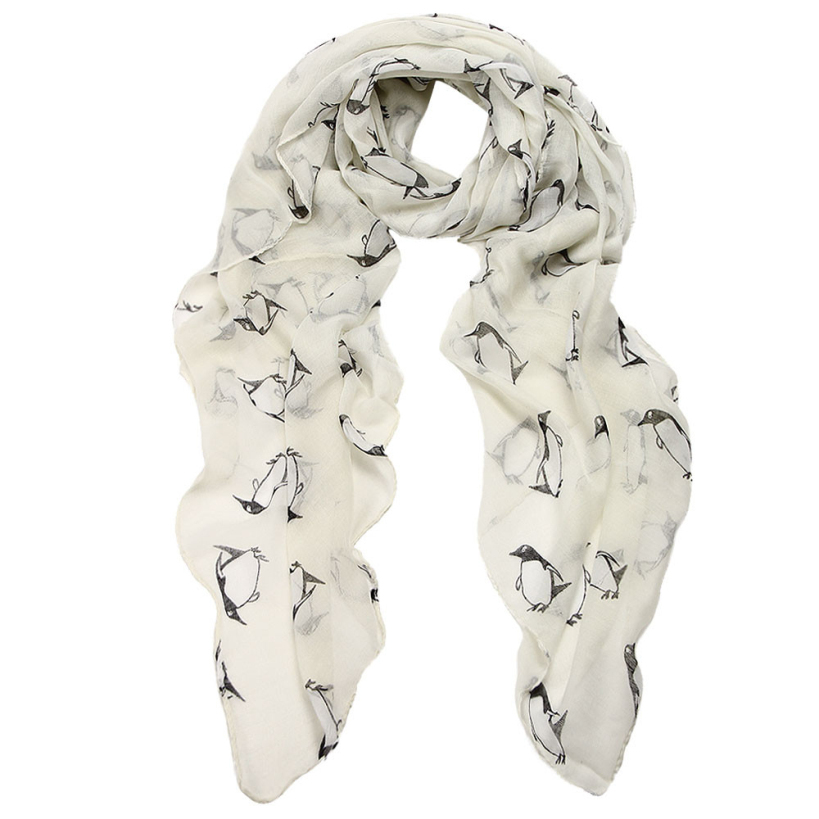 Amazin 2015 New Penguin Pattern Women's Shawls and Scarves Female Voile Scarf(China (Mainland))
