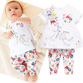 2015 new Baby Girls t-shirt + pants suit cartoon bunny rabbit rat floral print short-sleeved suit casual brand quality