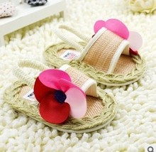 baby shoes  first walkers  brand  free shipping big flower Rattan  girl sandals  shoes(China (Mainland))