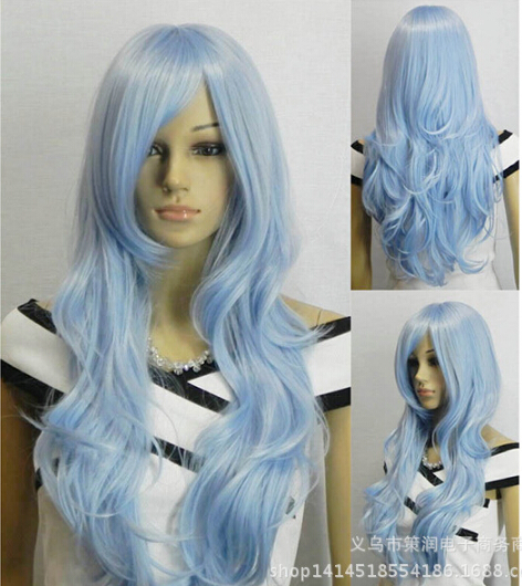 DropShipping New Kanekalon Synthetic Hair Lolita 80cm Long Wavy Cosplay Anime Light Blue Wig With Middle fringe(China (Mainland))