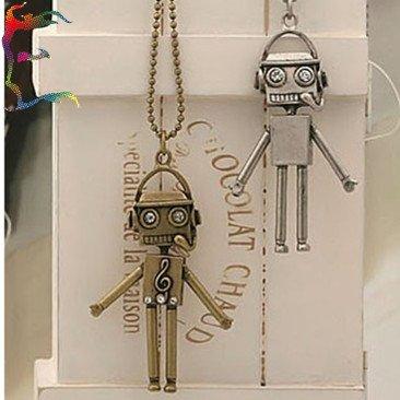 Wholesale fashion bronze silver lover music Robot pendant necklace 24pcs/Lot casual man woman charm neckalce jewelry(China (Mainland))