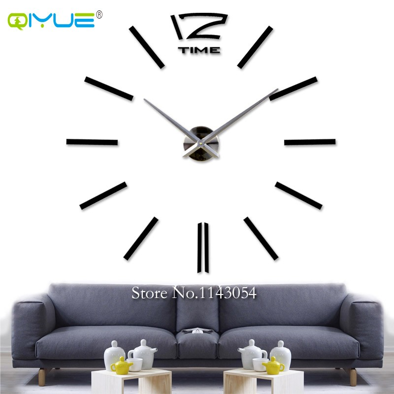 Home decorations black digital wall clock European oversized living room minimalist fashion DIY Wall Art bell clock W003B(China (Mainland))