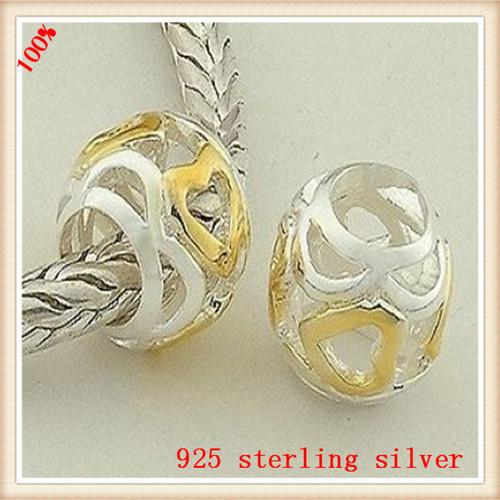 Подлинной любви в форме сердца мяч 925 серебряный бусины DIY бусины совместимые с пандоры стиль шарм браслеты FS041