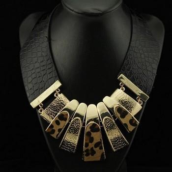 2014 Europen Brand Design Fashion Popular Elegant Punk Tassel Leopard Leather Choker Necklace Statement Jewelry High qualityPT34