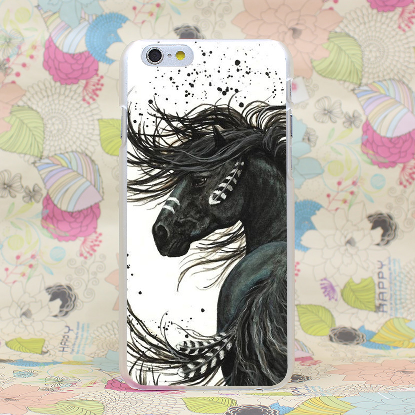 657HJ Majestic Mustang Horse Hard Transparent Case Cover for iPhone 4 4s 5 5s SE 5C 6 6s Plus(China (Mainland))