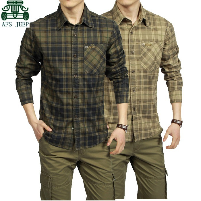 AFS JEEP 2015 Spring Autumn Full Sleeve Plaid Shirt For Men Summer Climbing Thick Cotton Cargo