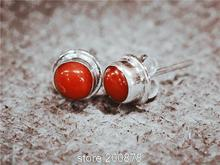 T9145   Nepal Handmade 925 Sterling Silver Inlaid Natural Coral Lovely Earrings,Nepal vintage jewelry,vintage gift for lady(China (Mainland))