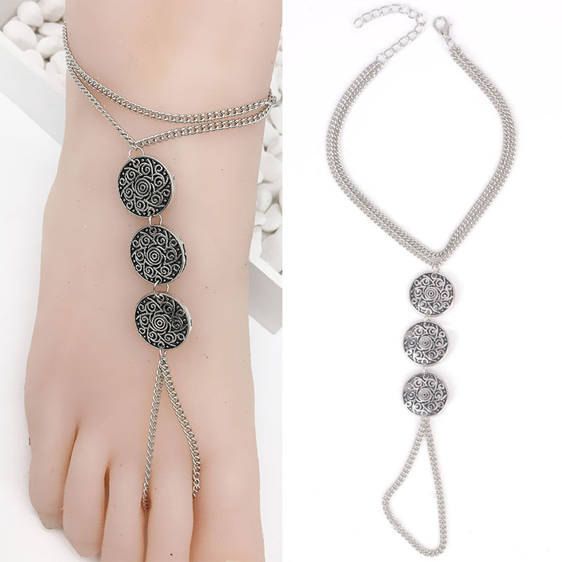 New Fashion Bohemia Metal Coin Anklets Chain Bracelets For Women Wholesale Barefoot Anklet Silver Ankle Chains(China (Mainland))